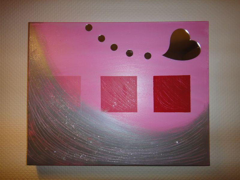 Tableaux home deco tableau fille rose argent avec coeur for Miroir fille